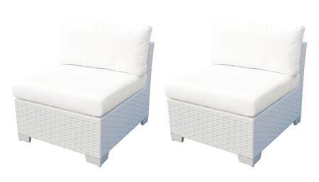 Collection TKC017b-AS-DB-WHITE Monaco Armless Chair 2 Per Box - 2 Sail White