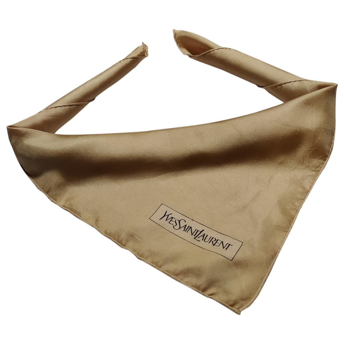 Yves Saint Laurent - Carre   pour femme en soie - dore