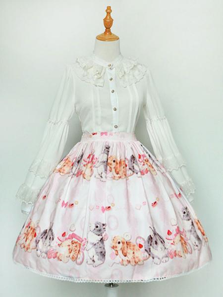 Milanoo Sweet Lolita Skirt Chiffon Bunny Print Pleated Pink Lolita Bottoms