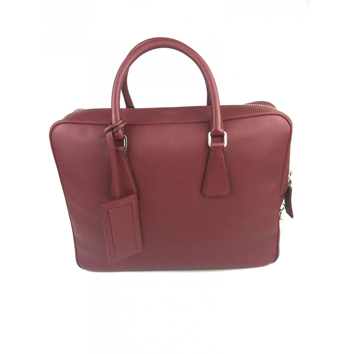 Prada \N Red Leather bag for Men \N