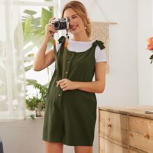 Maternity Knot Shoulder Button Front Overall Shorts