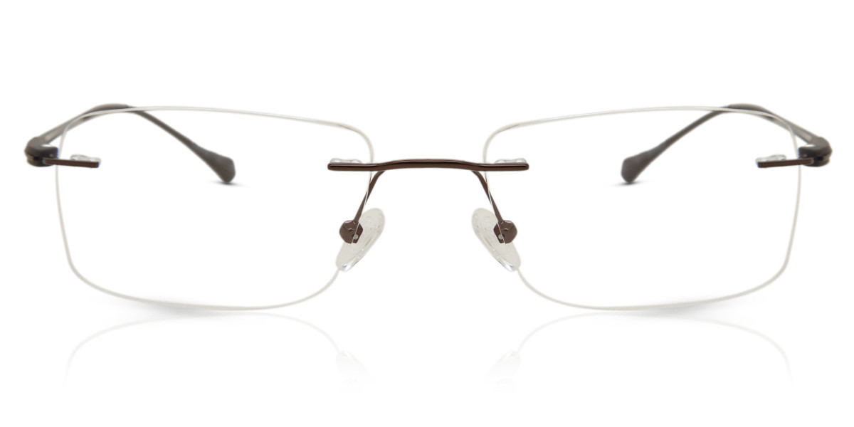 Rectangle Rimless Metal Men's Glasses Discount Brown Size 54 - Free Lenses - HSA/FSA Insurance - Blue Light Block Available - Arise Collective