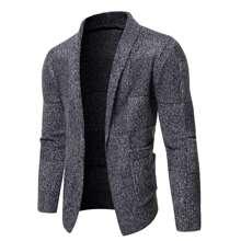 Guys Space Dye Shawl Collar Cardigan