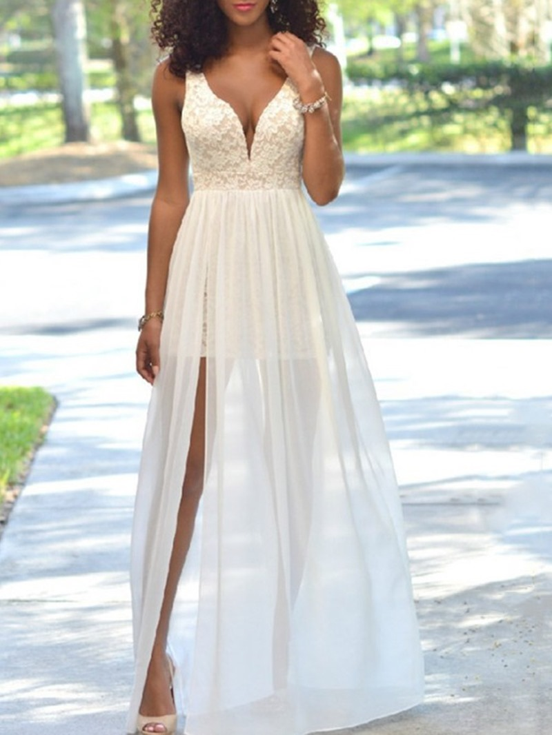 Ericdress Sleeveless V-Neck Split Floral Women's Pullover Dress