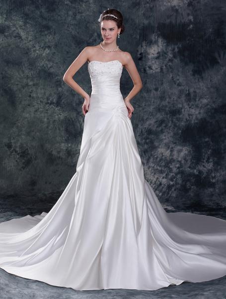 Milanoo Vestido de boda blanco de saten con bordados y escote de corazon de cola capilla