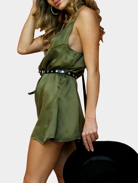 Yoins V-neck Sleeveless Open Back Mini Dress