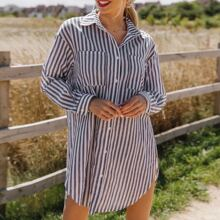 Two Tone Striped Patch Pocket Curved Hem Shirt Dress