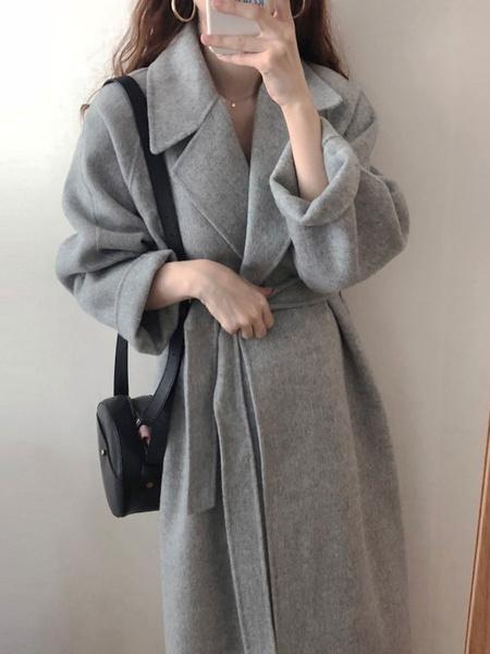 Milanoo Abrigo para mujer Cuello vuelto con cordones Abrigo largo de albaricoque Abrigo de invierno