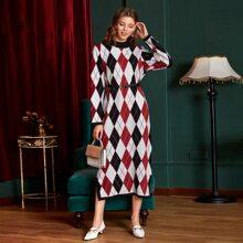 Argyle Pattern Split Hem Belted Sweater Dress