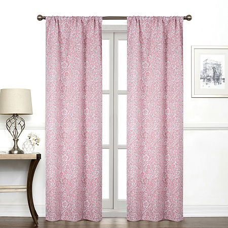 Regal Home York Paisley Light-Filtering Rod-Pocket Single Curtain Panel, One Size , Pink
