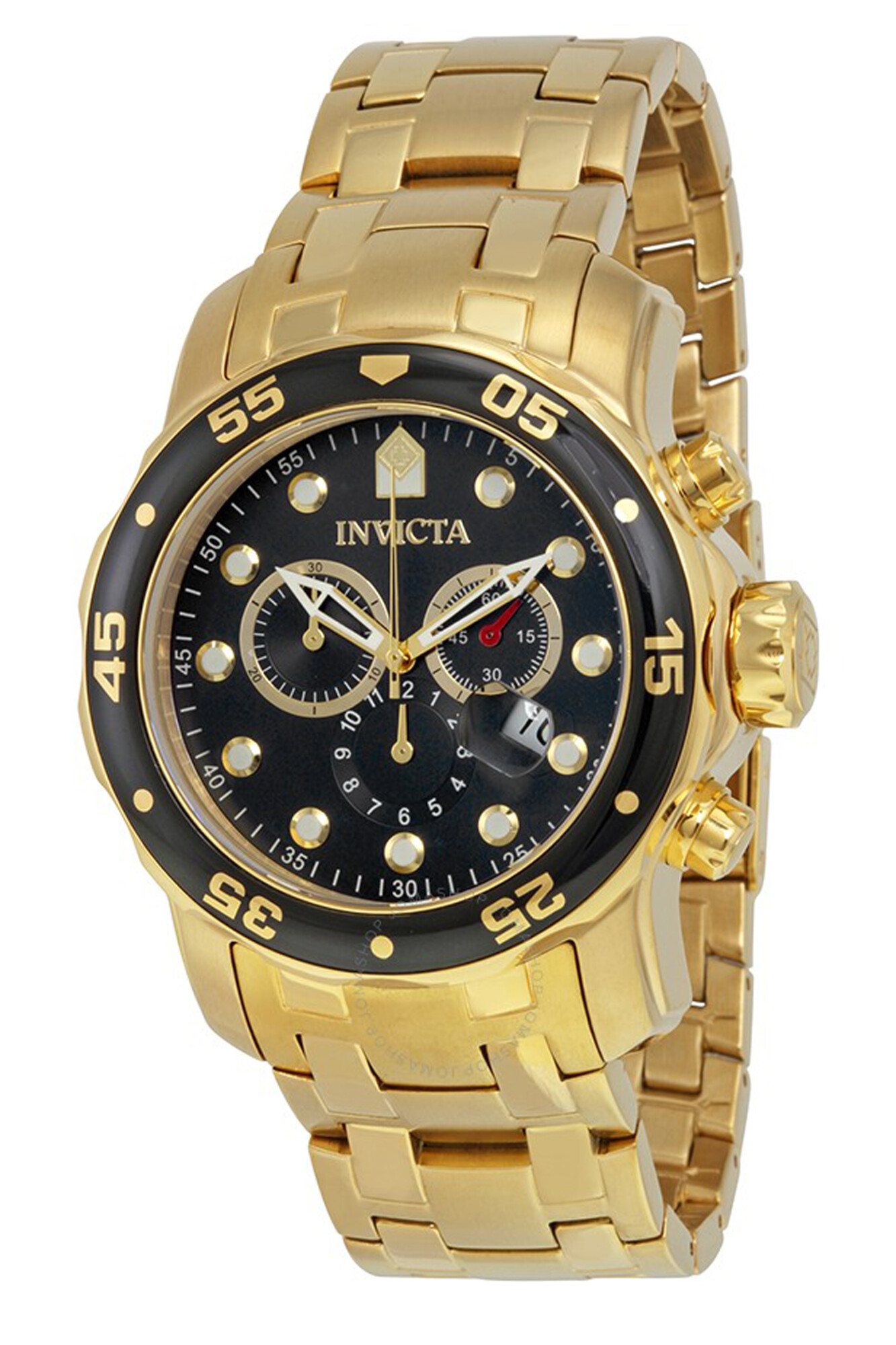 Invicta Men's Pro Diver 0072 Gold Stainless-Steel Plated Swiss Parts Chronograph Dress Watch