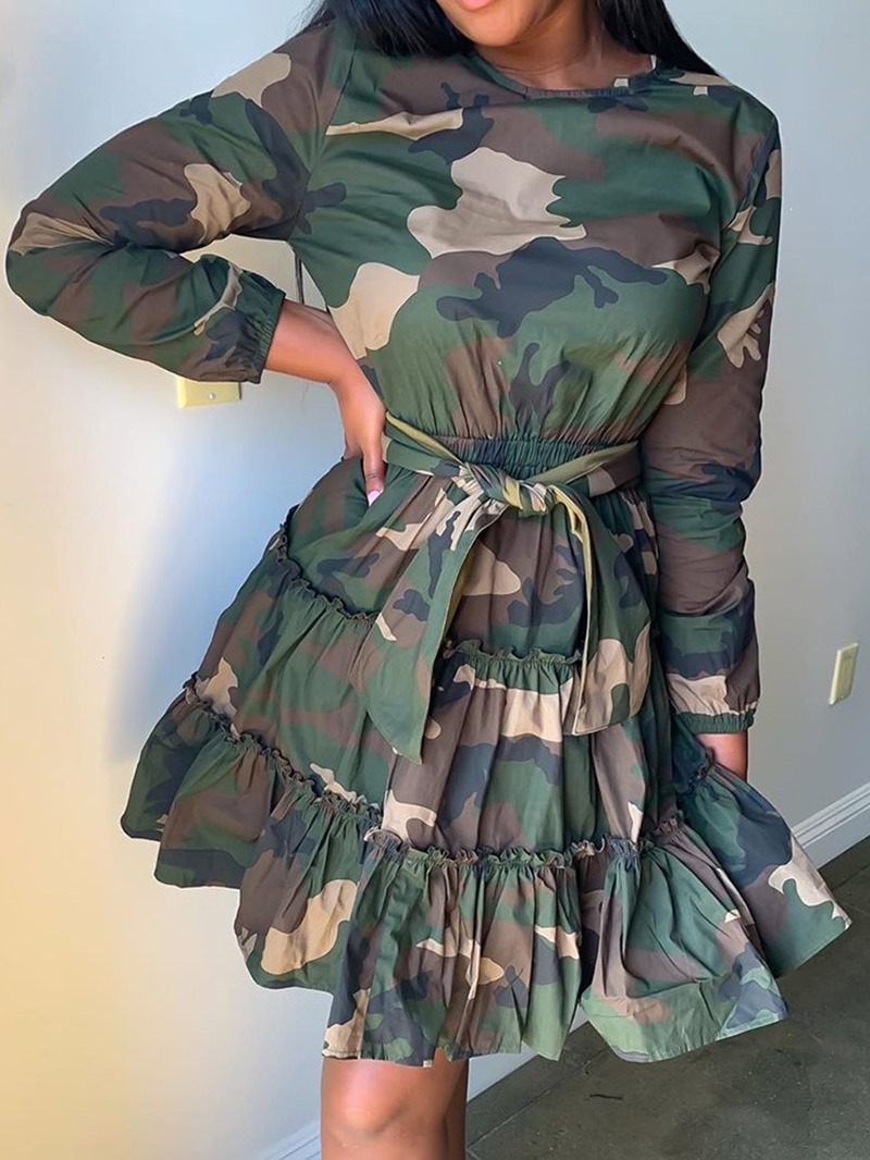 Ericdress Stringy Selvedge Nine Points Sleeve Above Knee Mid Waist Camouflage Dress