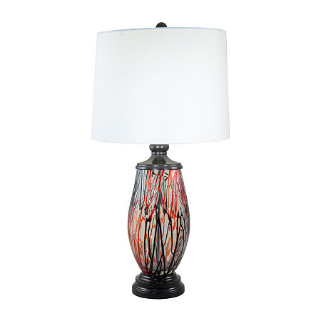 Dale Tiffany Torrance Hand Blown Art Glass Crystal Table Lamp, One Size , Red