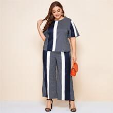 Plus Flutter Sleeve Striped Top & Pants Set