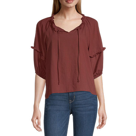 a.n.a-Tall Womens Split Tie Neck 3/4 Sleeve Peasant Top, X-large Tall , Red