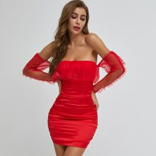 Neon Red Mesh Panel Ruched Satin Dress