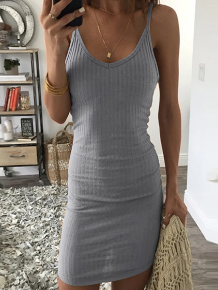Yoins Backless design Cable Knit Sleeveless Dress