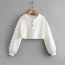 Girls Drop Shoulder Half Button Placket Crop Pullover