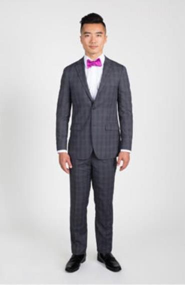 Mens 2 Button Charcoal Grey Plaid Notch Lapel Slim Fit Suit