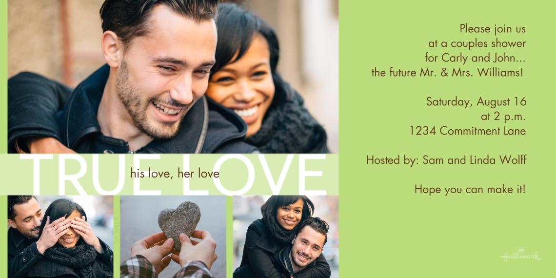 Wedding Shower Invitations 4x8 Flat Card Set, 85lb, Card & Stationery -His Love, Her Love, True Love
