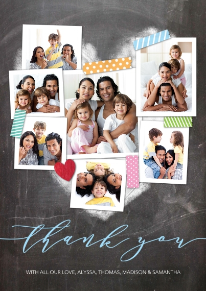 Kids 5x7 Cards, Premium Cardstock 120lb with Scalloped Corners, Card & Stationery -Thank You Snapshots Heart by Tumbalina