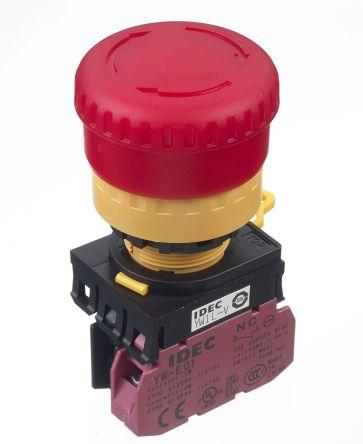 Idec Panel Mount Mushroom Head Emergency Button - NC, Pull to Turn, 40mm, 22mm, Red