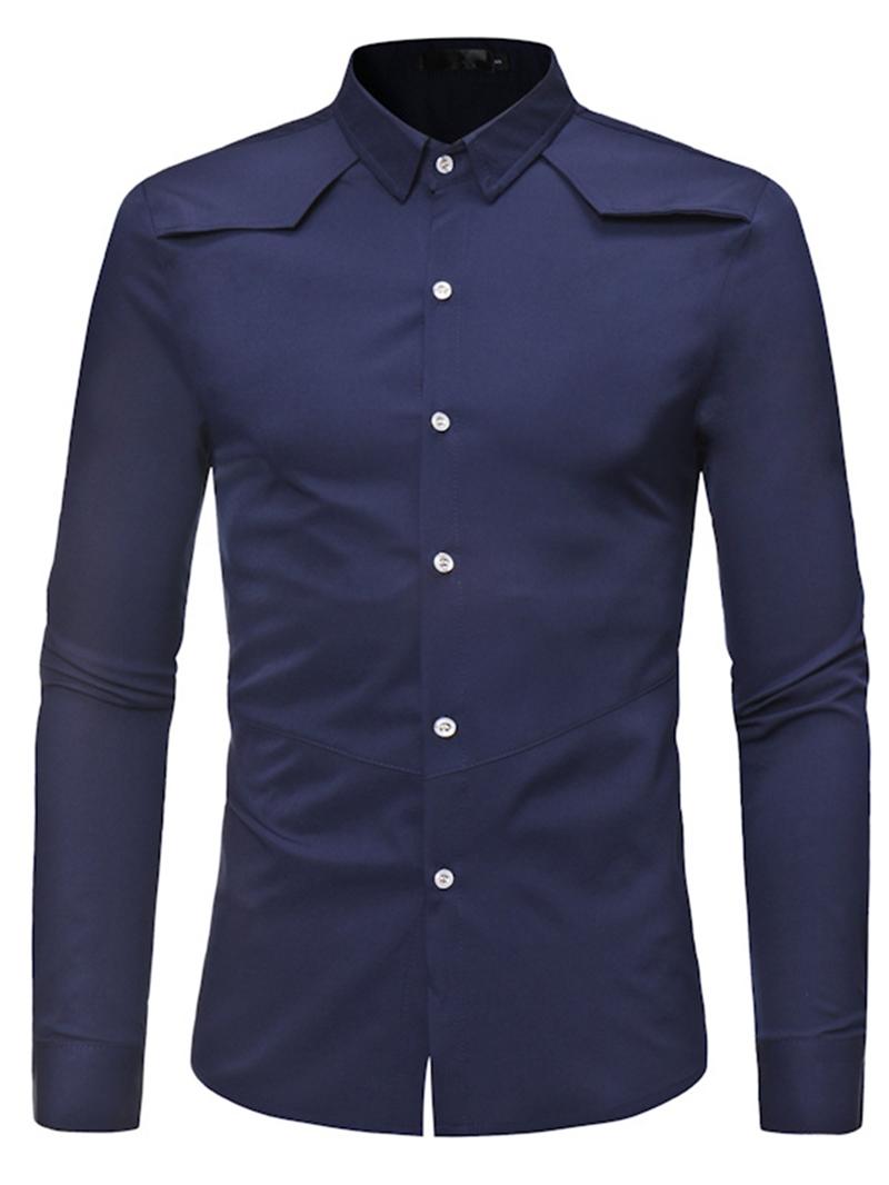 Ericdress Men's Lapel Plain Slim Fit Casual Shirt