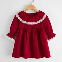 Baby Girl Contrast Lace Trim Smock Dress