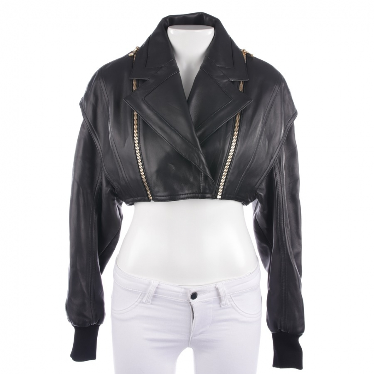 Balmain \N Black Leather jacket for Women S International