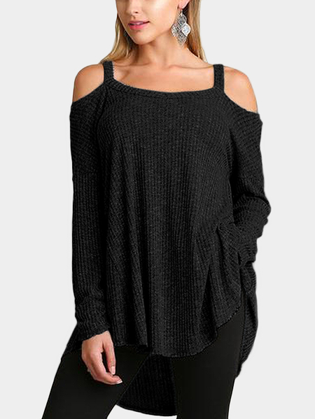 Yoins Black Knitted Cold Shoulder Long Sleeves Top