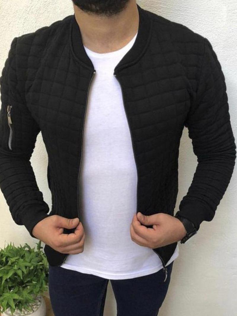 Ericdress Zipper Stand Collar Thick Mens Slim Jacket