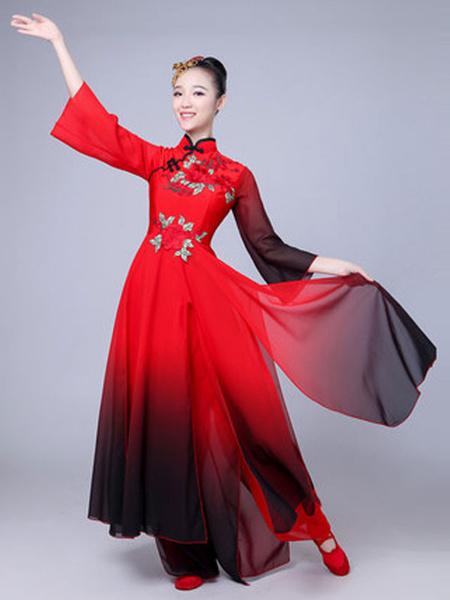 Milanoo Disfraz Halloween Disfraces chinos de las mujeres Bordados Ombre Stand Collar Disfraces de vacaciones asiaticos rojos Carnaval Halloween