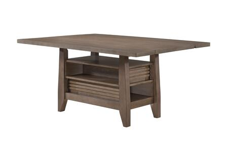 Adeline Collection AL210-T Dining Table with Rectangular Table and Exposed Shelves in Graywash