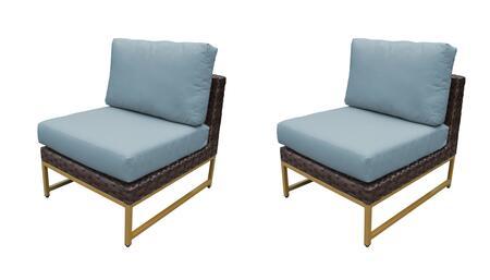 TKC049b-AS-DB-GLD-SPA Barcelona Armless Chair 2 Per Box - Beige and Spa