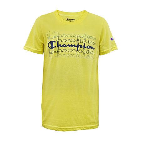 Champion Big Boys Crew Neck Short Sleeve Graphic T-Shirt, Small (8) , Yellow