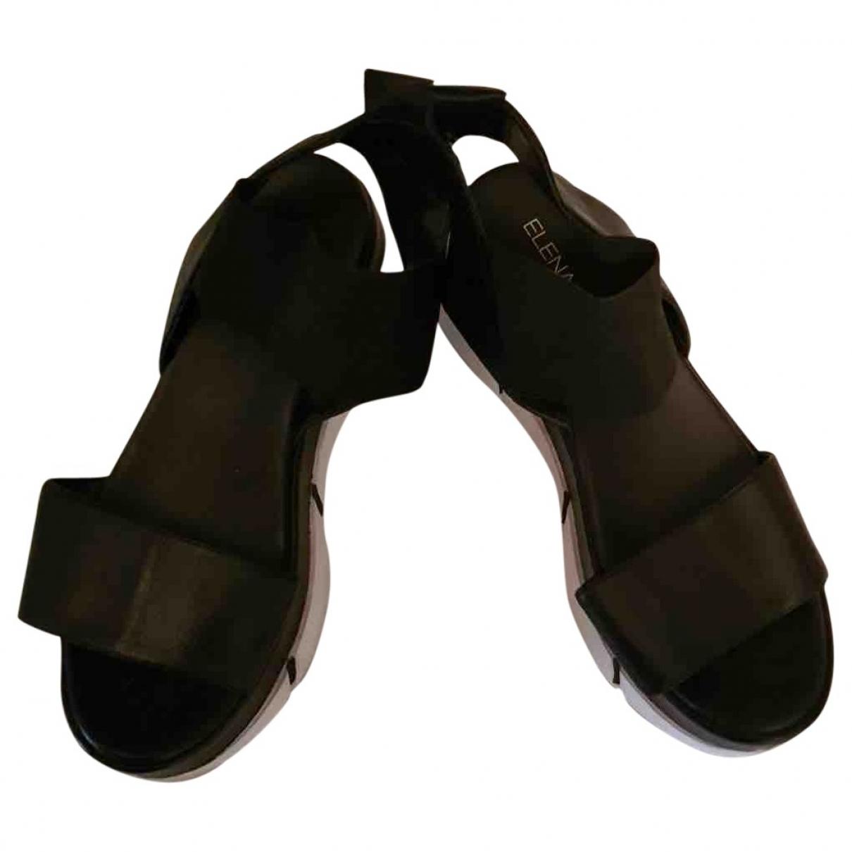 Elena Iachi \N Black Leather Sandals for Women 37 EU