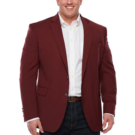 Stafford Mens Hopsack Classic Fit Blazer - Big and Tall, 58 Big Short, Red