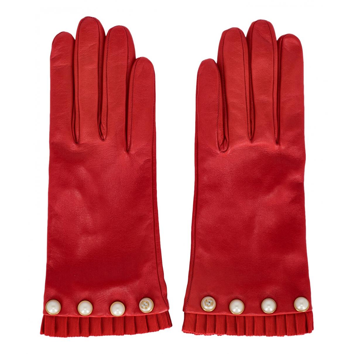 Gucci \N Handschuhe in  Rot Leder