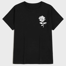 Men Rose Graphic Short Sleeve Tee