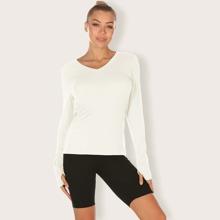 Strick Sports T-Shirt mit V Kragen