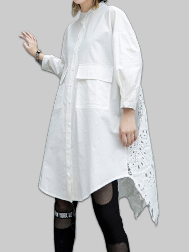 Lace Crochet Long Sleeve Irregular Trim Plus Size Long Shirt