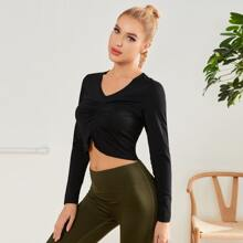 Ruched Front Crop Sports Tee