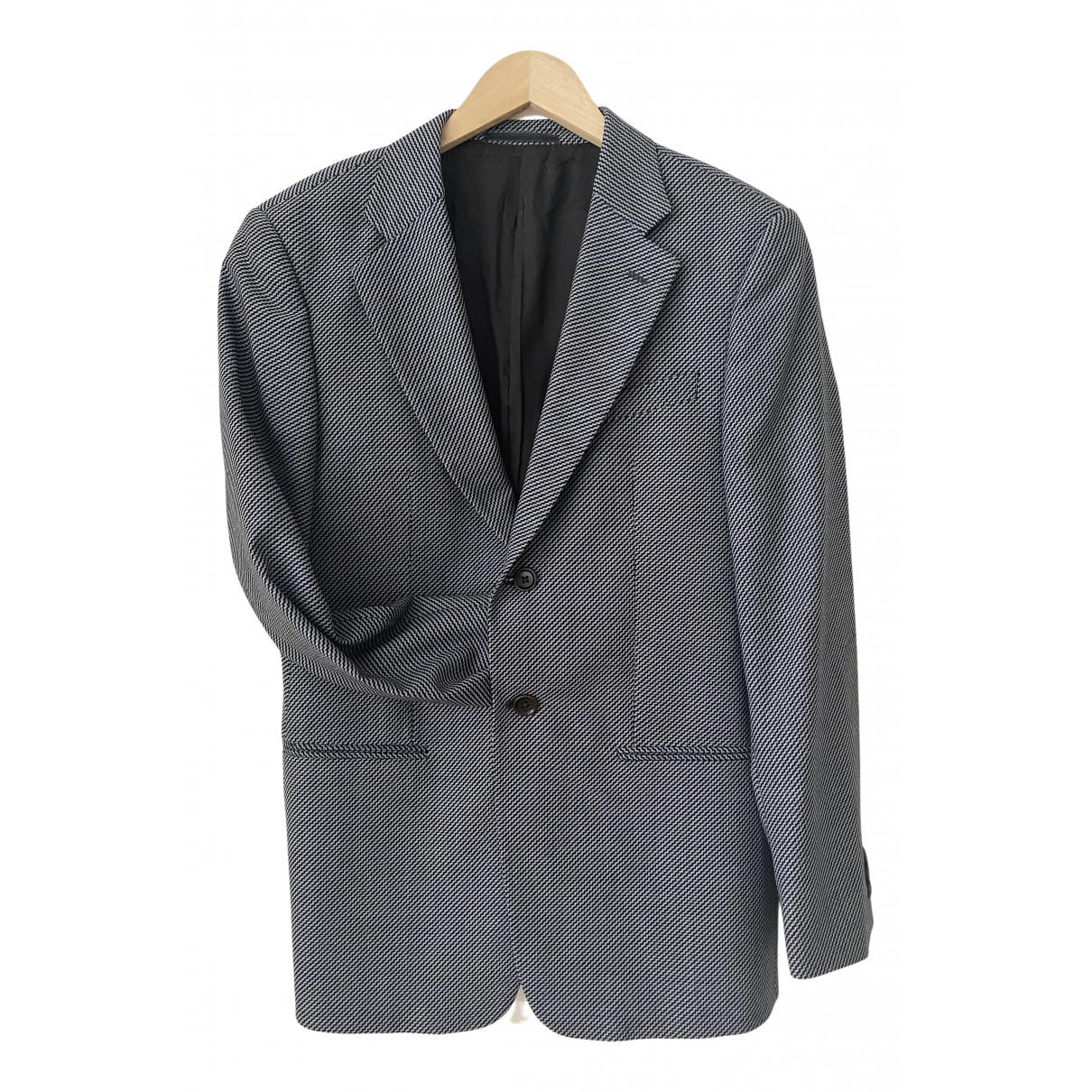 Armani Collezioni N Blue Wool jacket  for Men 48 IT