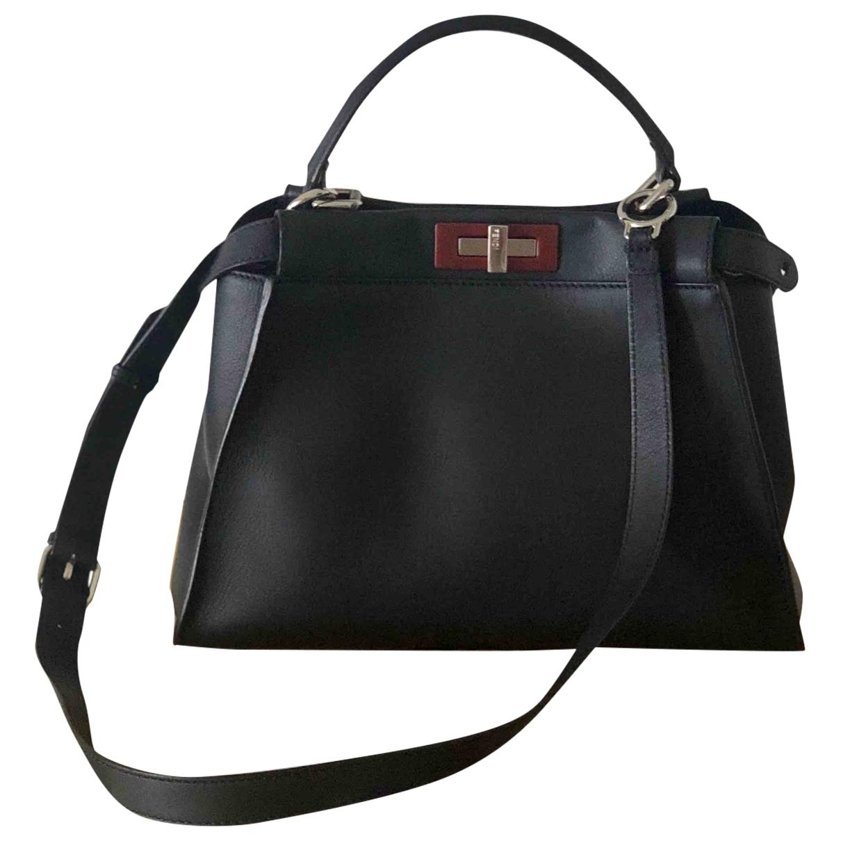 Fendi Peekaboo Handtasche in  Marine Leder