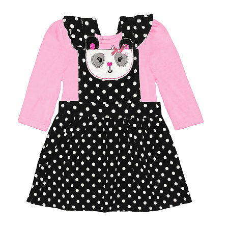 Nannette Baby Girls Long Sleeve Dress Set, 18 Months , Pink