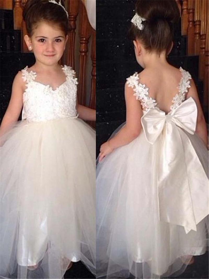Ericdress Tulle Applique Straps Bowknot Flower Girl Dress