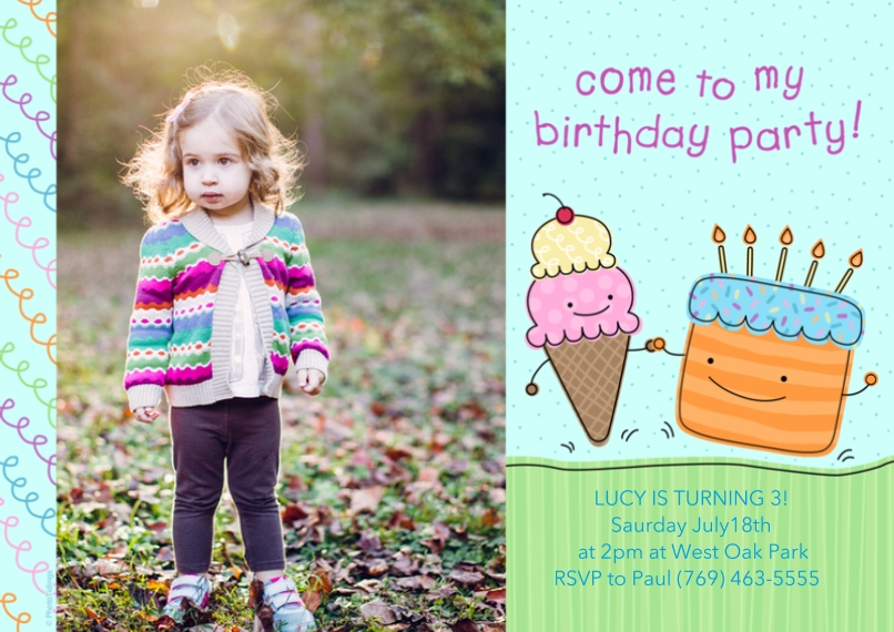 Kids Birthday Party Invites 5x7 Cards, Premium Cardstock 120lb with Rounded Corners, Card & Stationery -Birthday Party