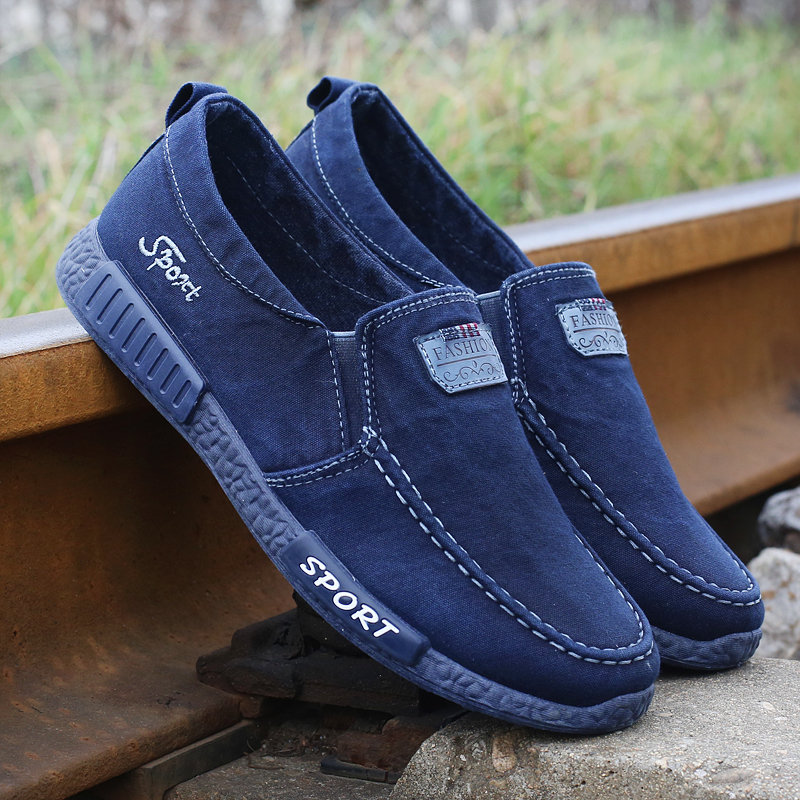 Men Pure Color Canvas Breathable Slip On Large Size Soft Casual Shoes