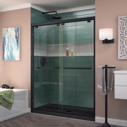 DL-7007C-88-09 Encore 36 D X 60 W Semi-Frameless Bypass Shower Door In Satin Black With Center Drain Black Acrylic