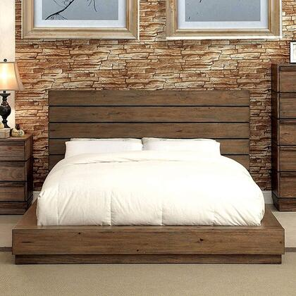 CM7623Q-BED Coimbra Collection Queen Size Bed with Rustic Style  Wood Veneer  Low Profile and Slat Kit Included  in Rustic Natural